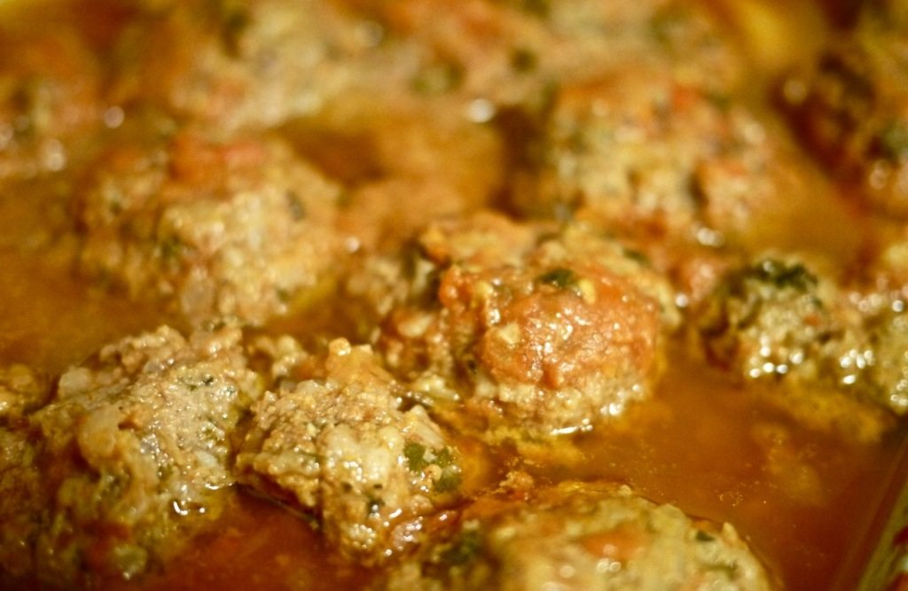 Meatballs and potatoes by stephanie sadler