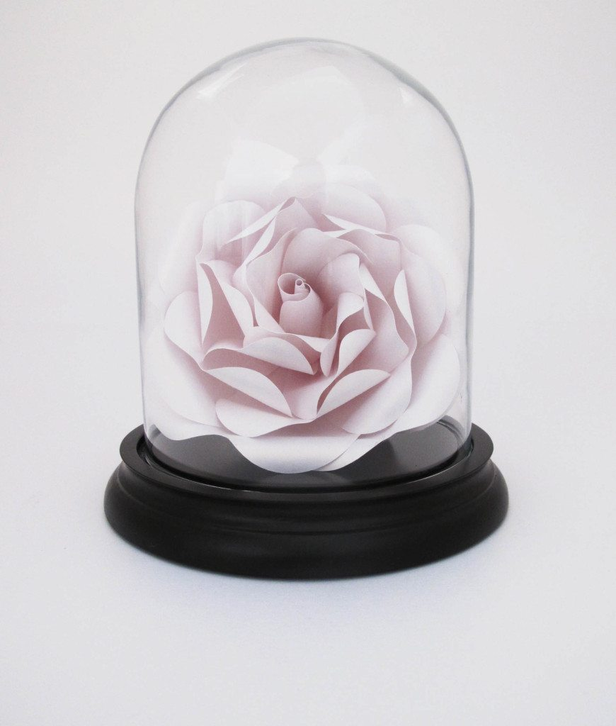 4-PAPER ROSE IN SMALL GLASS DOME IN  WHITE GOLD BY ALSO IN AVAILABLE IN PINK, LILAC AND RED. Represented at London Craft Week by Crafted.